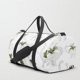 Dino and Cacti on White Duffle Bag