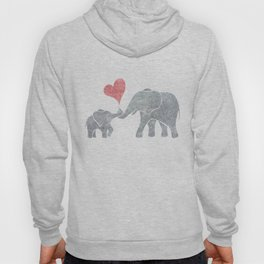 Elephant Hugs with Heart in Muted Gray and Red Hoody