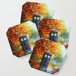 Starry Autumn Blue Phone Box Coaster