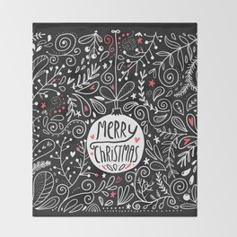 Merry Christmas doodles Throw Blanket