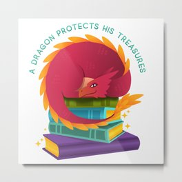 A Dragon Protects His Treasures (books) Metal Print