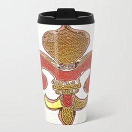 Fleur De Lis Liquid Metal Travel Mug