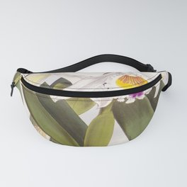 Vintage White Lindenia Orchid Fanny Pack