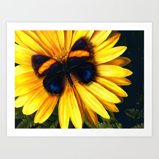 Butterfly on yellow Art Print
