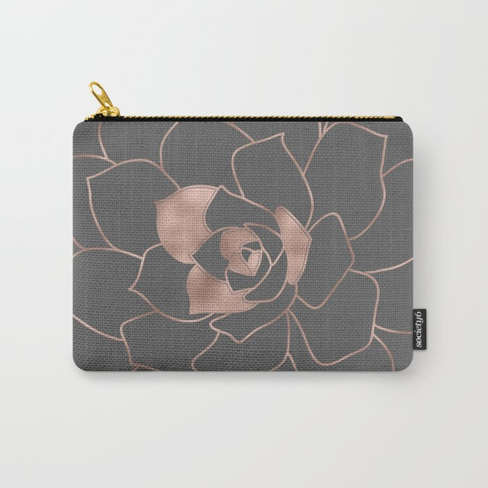 Rosegold  blossom on grey - Pink metal-effect flower Carry-All Pouch