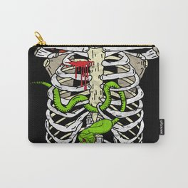 Skeleton Ribcage with Green Viper Snake Carry-All Pouch