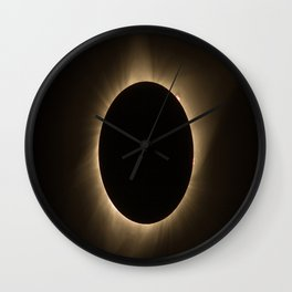 Flares - Total Solar Eclipse with Subdued Corona and Sun Bursts Wall Clock
