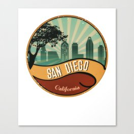 San Diego City Skyline California Retro Vintage Design Canvas Print