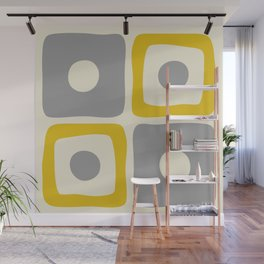 Mid Century Modern Square Dot Pattern 592 Yellow and Gray Wall Mural