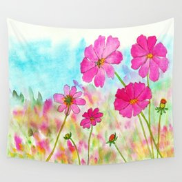 Symphony In Pink, Watercolor Wildflowers Wall Tapestry