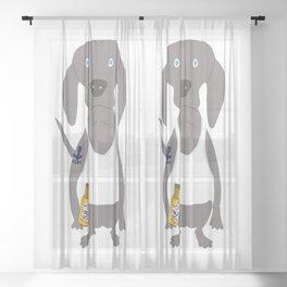 Weim USA Grey Ghost Weimaraner Dog Hand-painted Pet Drawing Sheer Curtain