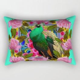 GREEN PEACOCK &  PINK ROSE GARDEN TURQUOISE ART Rectangular Pillow