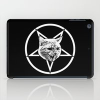 pentagram iPad Cases featuring Catagram - Cat Face On Pentagram White on Black by MagicCircle