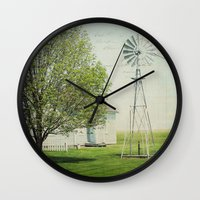 american beauty Wall Clocks featuring American Beauty Vol 19 by Farmhouse Chic
