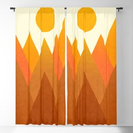 Modern Warming Abstract Geometric Mountains Landscape with Rising Sun in Hot Autumnal Ochre Colors Blackout Curtain