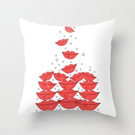 Red lips falling... in love   Throw Pillow