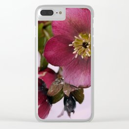 Christmas Rose Clear iPhone Case