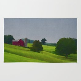 Pure Country Red Barn Art Poster Rug