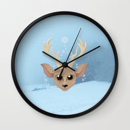 Snow Deer Wall Clock