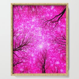 Black Trees Hot Pink Space Serving Tray