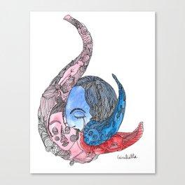 Mer et fille Canvas Print