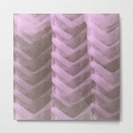 Blush Pink Panels over Chocolate Brown Background Metal Print
