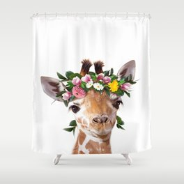 Baby Giraffe With Flower Crown, Baby Animals Art Print By Synplus Shower Curtain