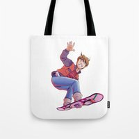 mcfly Tote Bags featuring Mcfly on Hoverboard by senseidani