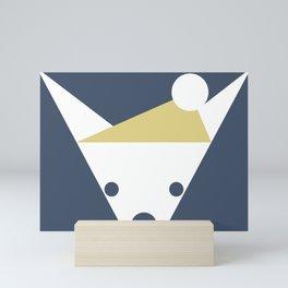 Peek-a-Boo Chihuahua with Gold Cap, White on Navy Blue Mini Art Print