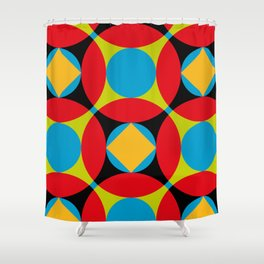 Very colorful circles, squares, intersections, geometrical fantasy. Shower Curtain