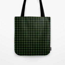 Dark Forest Green and Black Gingham Checkcom Tote Bag