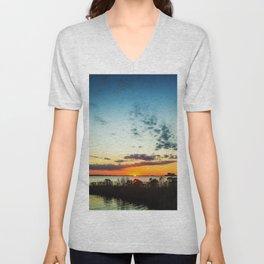Gulf Coast Sunset Pano Unisex V-Neck