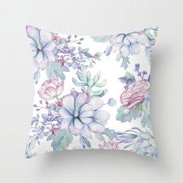 Pretty Blue Pink Succulents Garden Throw Pillow