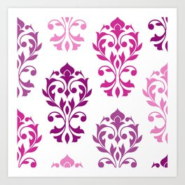 Heart Damask Art I Pinks Plums White Art Print