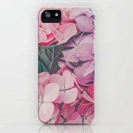 Pastel pink hydrangea iPhone Case