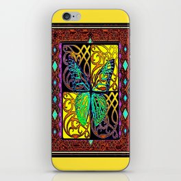 Old Style Buttefly Wood Block Yellow-Green-Brown  Print iPhone Skin