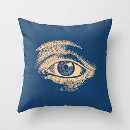 Retro Vintage Blue Eye Pattern Throw Pillow
