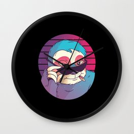 Sloth with sunglasses 80s style Wall Clock