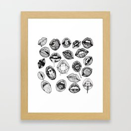 Hand Drawn Luscious Lips in Black and White Framed Art Print