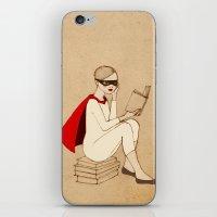 superhero iPhone & iPod Skins featuring Superhero reader by Irena Sophia