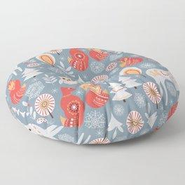 Fairy forest, deer, owls, foxes. Decorative pattern in Scandinavian style. Folk art. Floor Pillow