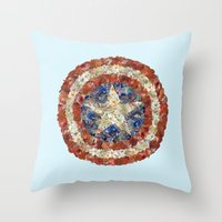 steve rogers Throw Pillows featuring Steve Rogers' Garden by Joan-of-here