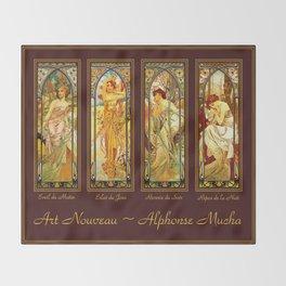 Vintage Art Nouveau - Alphonse Mucha Throw Blanket