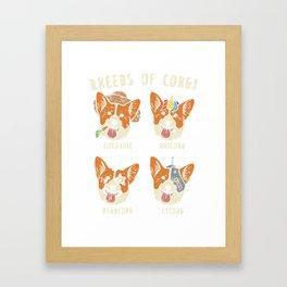 Welsh Corgi T-Shirt Pembroke Face Dog Funny Men Women Kids Corgi Breeds T-Shirts Gifts Tees Framed Art Print