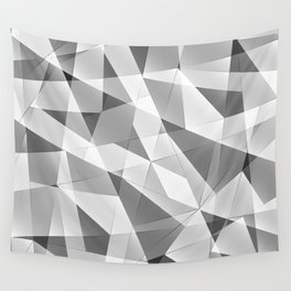 Exclusive strict gray monochrome pattern of chaotic black and white glass fragments, metal, glare. Wall Tapestry