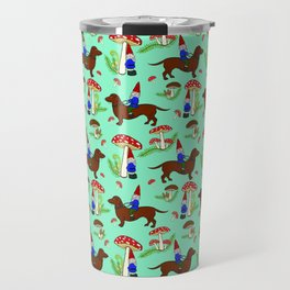 Gnome & Dachshund in Mushroom Land, Teal Background Travel Mug