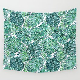 JUNGLE VIBES Green Tropical Monstera Leaves Wall Tapestry