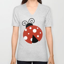 Ladybug, Ladybird, Lady Beetle - Red Black White Unisex V-Neck