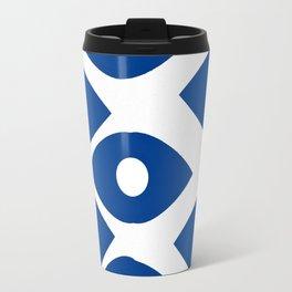 Blue and White Pattern Fish Eye Design Travel Mug