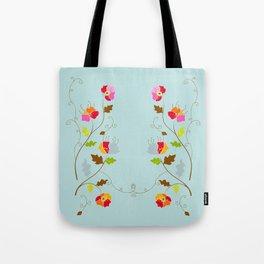 Climbing Floral Vine on Light Cyan Tote Bag